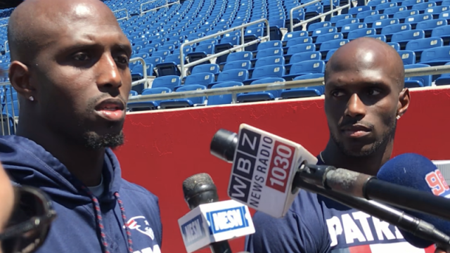 New England Patriots defensive backs Devin and Jason McCourty