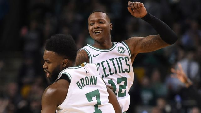 Boston Celtics guards Terry Rozier and Jaylen Brown