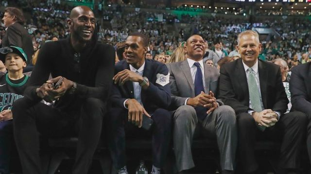 Kevin Garnett, New Orleans Pelicans guard Rajon Rondo, Los Angeles Clippers coach Doc Rivers and Boston Celtics president of basketball operations Danny Ainge