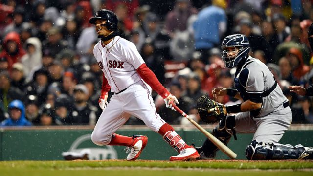 Boston Red Sox right fielder Mookie Betts and New York Yankees catcher Gary Sanchez