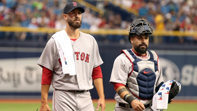 Boston Red Sox Starting Pitcher Rick Porcello And Catcher Sandy Leon