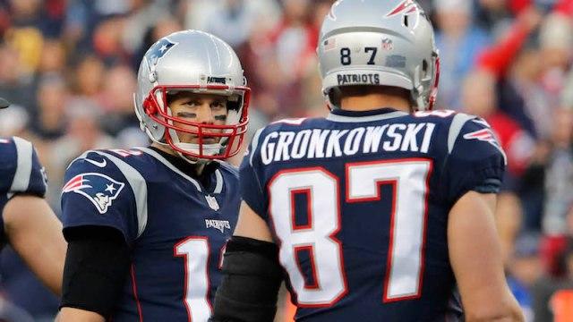 New England Patriots quarterback Tom Brady and former tight end Rob Gronkowski
