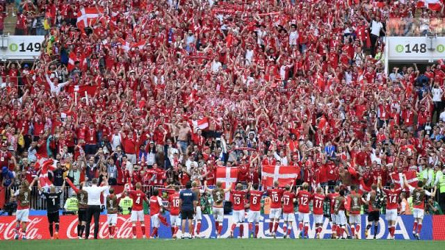 Denmark soccer team and fans