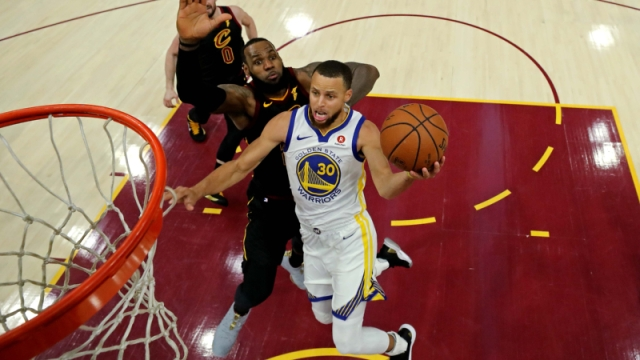 Golden State Warriors guard Stephen Curry and Cleveland Cavaliers forward LeBron James