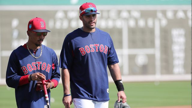 Boston Red Sox outfielder Mookie Betts and designated hitter J.D. Martinez
