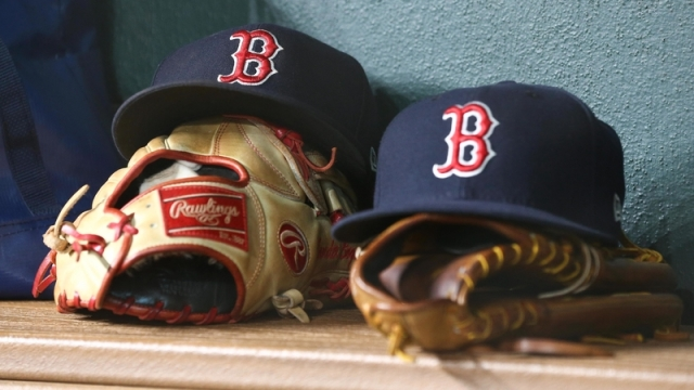 General view of Red Sox hats