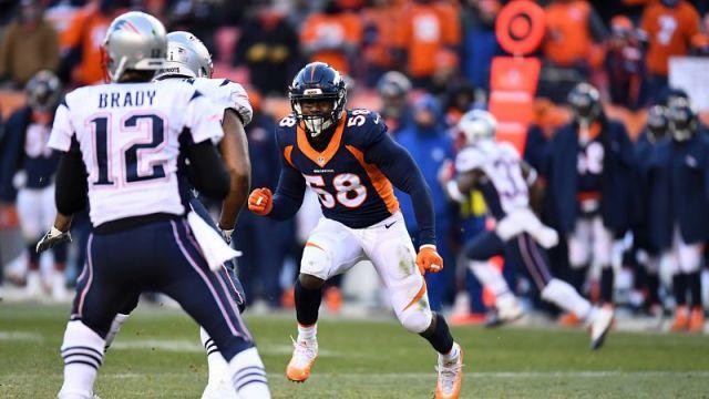 New England Patriots quarterback Tom Brady and Denver Broncos linebacker Von Miller