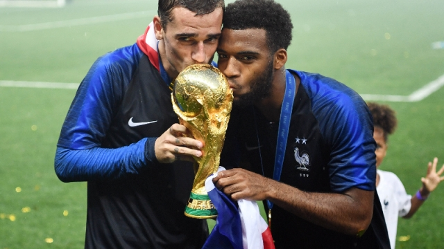 France forwards Antoine Griezmann (left) and Thomas Lemar