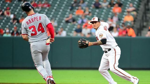 Washington Nationals outfielder Bryce Harper and Baltimore Orioles shortstop Manny Machado