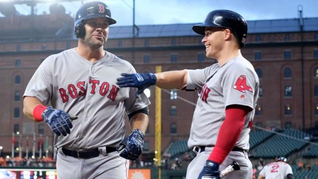 Boston Red Sox first baseman Mitch Moreland and infielder Brock Holt