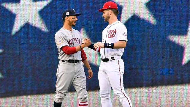 Boston Red Sox outfielder Mookie Betts and Washington Nationals outfielder Bryce Harper