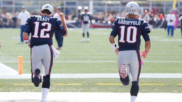 New England Patriots quarterback Tom Brady and San Francisco 49ers quarterback Jimmy Garoppolo