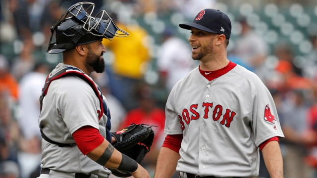 Boston Red Sox Relief Pitcher Tyler Thornburg And Catcher Sandy Leon