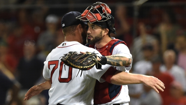Boston Red Sox Catcher Blake Swihart And Relief Pitcher Ryan Brasier