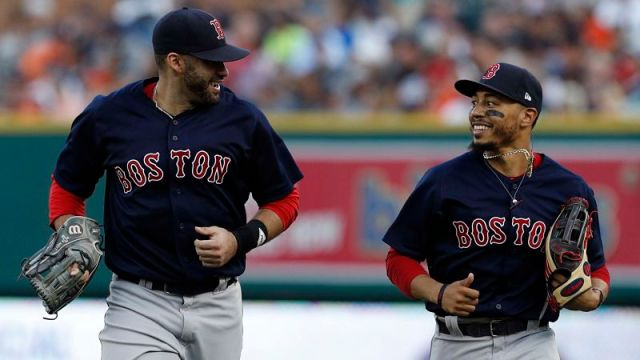 Boston Red Sox outfielders J.D. Martinez and Mookie Betts