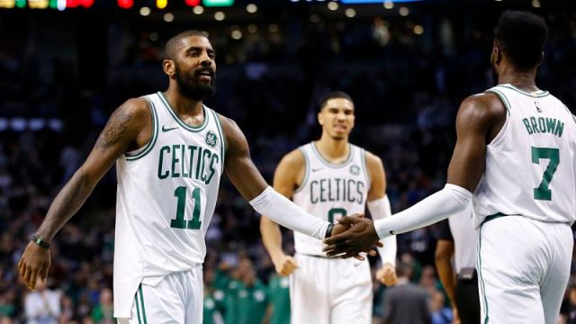 Boston Celtics point guard Kyrie Irving and guard Jaylen Brown