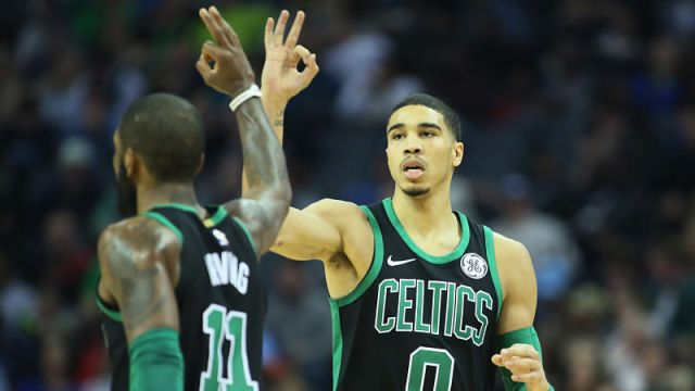 Boston Celtics guard Kyrie Irving and forward Jayson Tatum