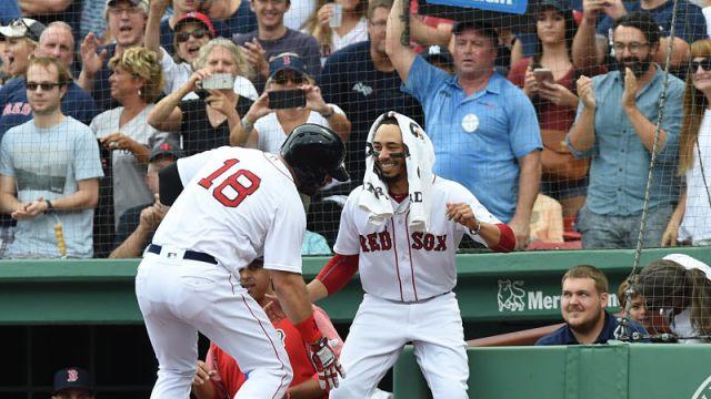 Boston Red Sox outfielder Mookie Betts and first baseman Mitch Moreland
