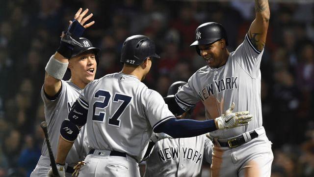 New York Yankees outfielders Giancarlo Stanton, Aaron Judge and Aaron Hicks