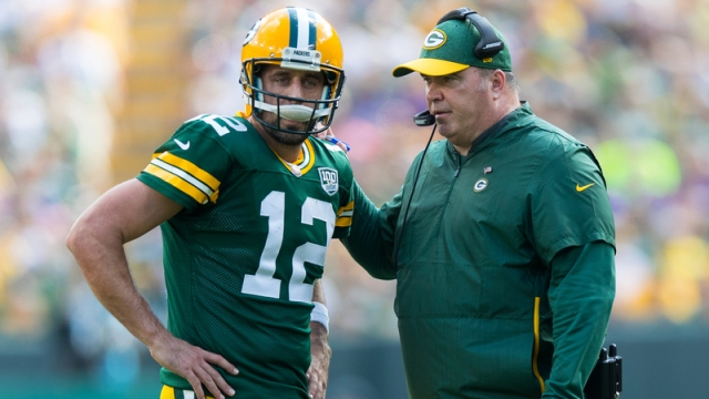 Green Bay Packers Quarterback Aaron Rodgers And Head Coach Mike McCarthy