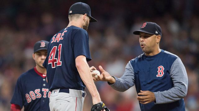 Boston Red Sox manager Alex Cora and pitcher Chris Sale