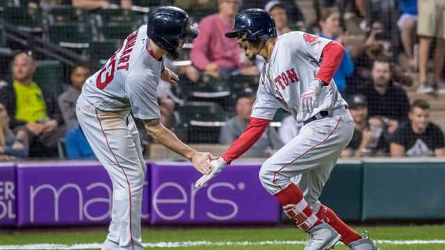 Boston Red Sox catcher Blake Swihart and outfielder Mookie Betts