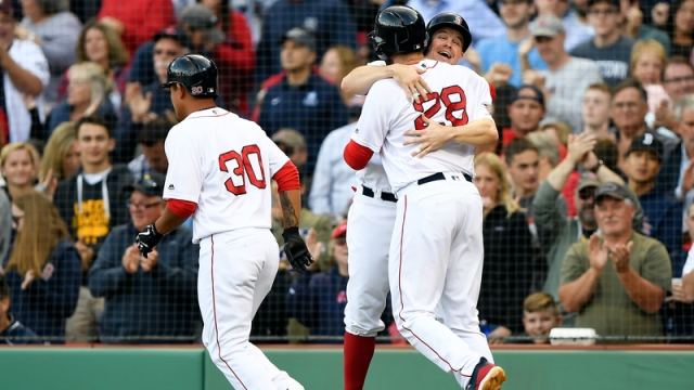 Boston Red Sox's Tzu-Wei Lin, Brock Holt And J.D. Martinez