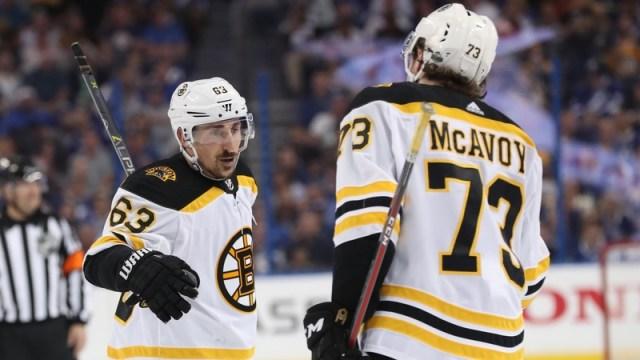 Boston Bruins Left Wing Brad Marchand And Defenseman Charlie McAvoy