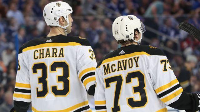 Boston Bruins defensemen Charlie McAvoy and Zdeno Chara