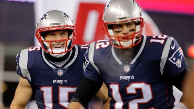 Patriots wide receiver Chris Hogan, quarterback Tom Brady