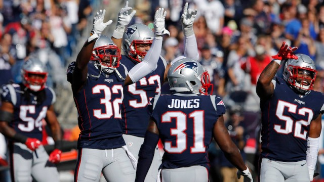 New England Patriots safety Devin McCourty and linebacker Kyle Van Noy