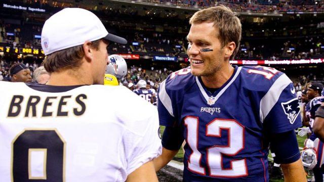 New Orleans Saints quarterback Drew Brees and New England Patriots quarterback Tom Brady