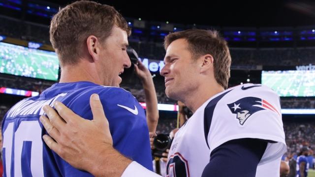 Former New York Giants quarterback Eli Manning and Tampa Bay Buccaneers quarterback Tom Brady