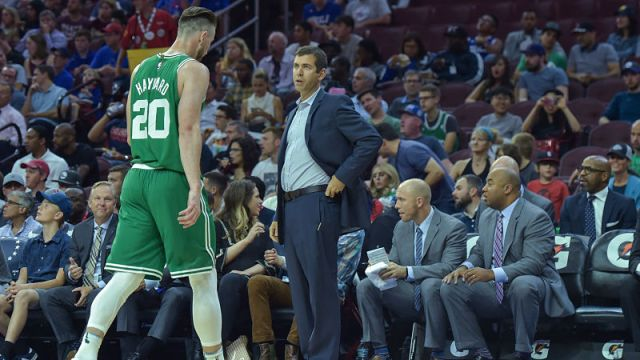 Boston Celtics forward Gordon Hayward and head coach Brad Stevens
