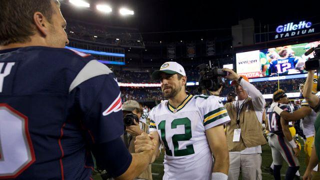 Green Bay Packers quarterback Aaron Rodgers and New England Patriots quarterback Tom Brady