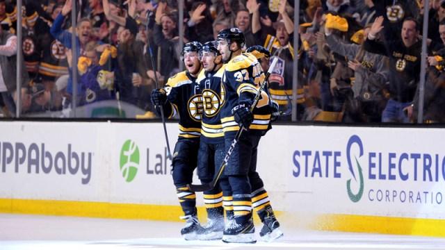 Boston Bruins First Line David Pastrnak, Brad Marchand And Patrice Bergeron