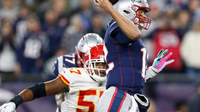Chiefs outside linebacker Breeland Speaks, Patriots quarterback Tom Brady