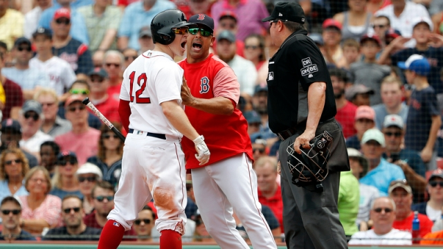 Former Boston Red Sox Utility Infielder Brock Holt And Manager Alex Cora