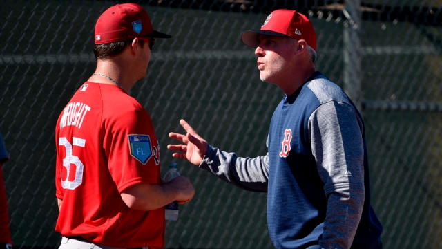 Boston Red Sox Pitcher Steven Wright And Pitching Coach Dana LeVangie