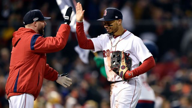 Boston Red Sox second baseman Dustin Pedroia and right fielder Mookie Betts