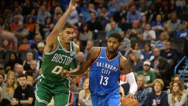 Boston Celtics forward Jayson Tatum and Oklahoma City Thunder forward Paul George