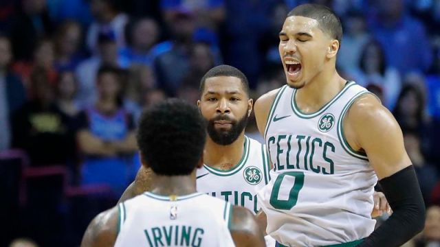 Boston Celtics forwards Jayson Tatum and Marcus Morris