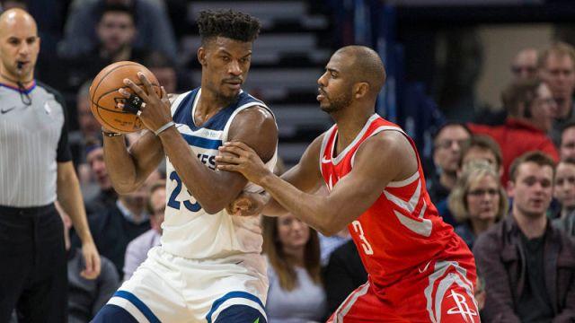Minnesota Timberwolves guard Jimmy Butler and Houston Rockets guard Chris Paul
