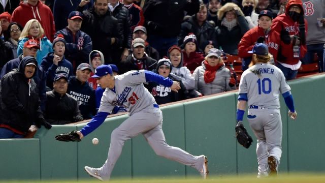 Los Angeles Dodgers outfielder Joc Pederson (31) and third baseman Justin Turner (10)