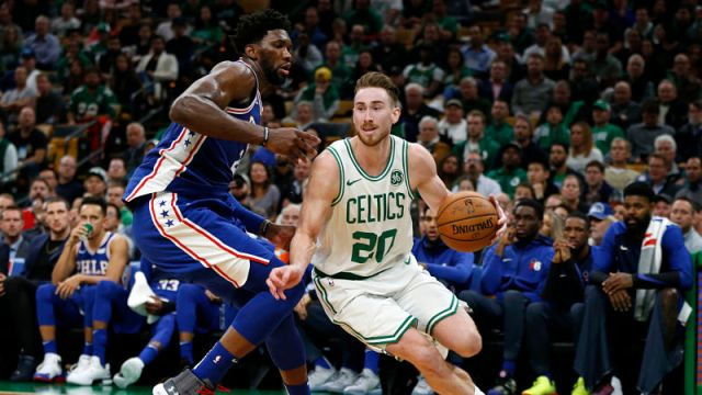 Philadelphia 76ers forward forward Joel Embiid and Boston Celtics forward Gordon Hayward