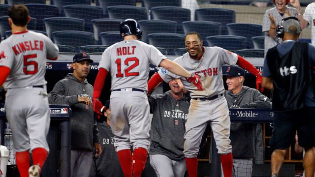 Boston Red Sox outfielder Mookie Betts and infielder Brock Holt