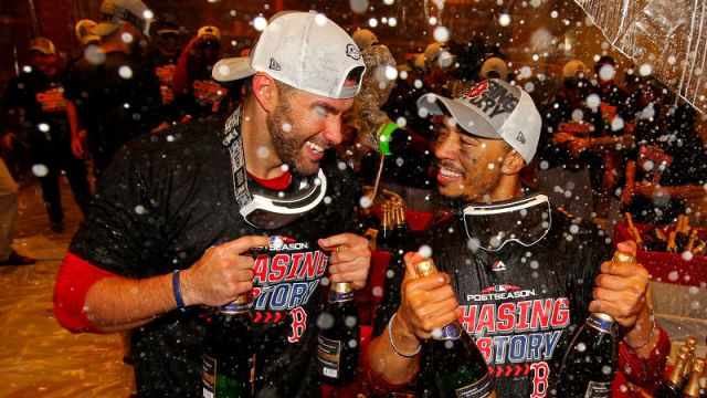Boston Red Sox designated hitter J.D. Martinez and outfielder Mookie Betts