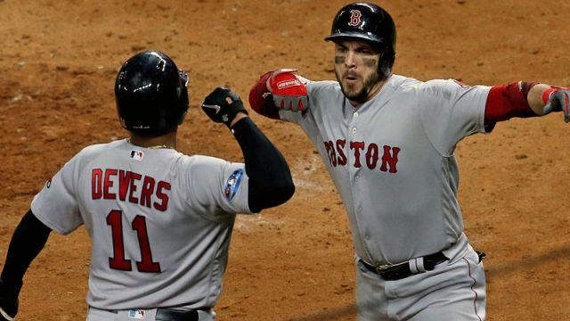 Boston Red Sox infielders Rafael Devers and Steve Pearce