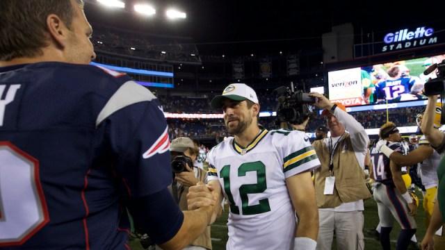 Patriots quarterback Tom Brady, Packers quarterback Aaron Rodgers