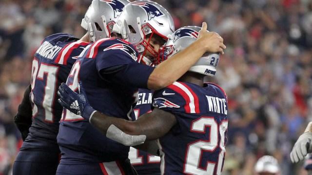 Patriots quarterback Tom Brady, running back James White